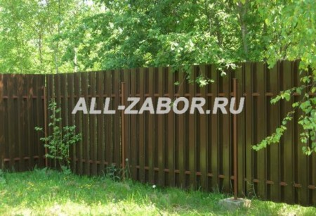 Двусторонний забор из евроштакетника